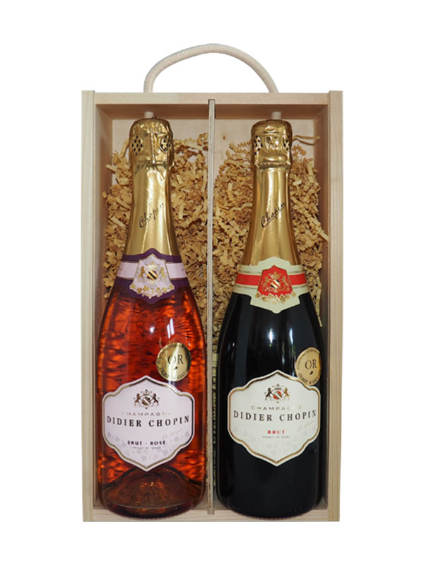 Didier Chopin Champagne NV & NV Rose (Gift Boxed)